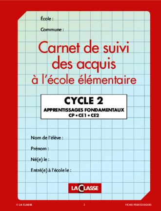 CARNET DE SUIVET DES ACQUIS A L'ECOLE ELEMENTAIRE CYCLE 2